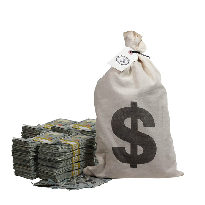 New Series $250,000 Aged Full Print Stacks with Money Bag - Prop Money