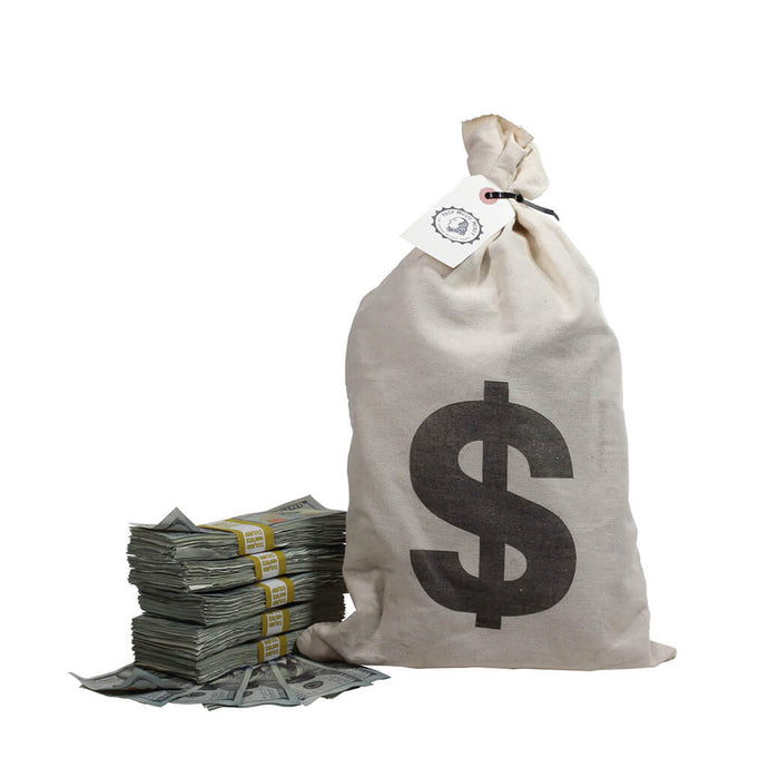 New Series $50,000 Aged Full Print Stacks with Money Bag - Prop Movie Money