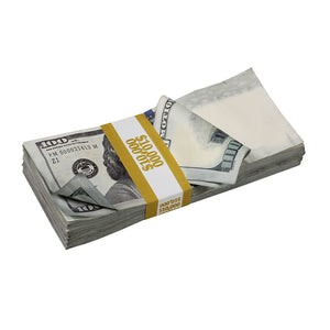 New Series $250,000 Aged Blank Filler Stacks with Money Bag - Prop Movie Money