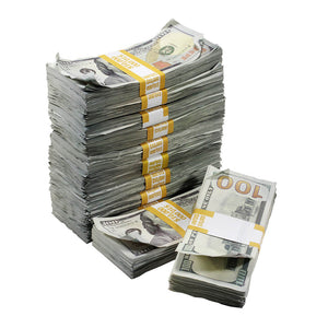 New Series $100,000 Aged Full Print Stacks with Money Bag - Prop Movie Money