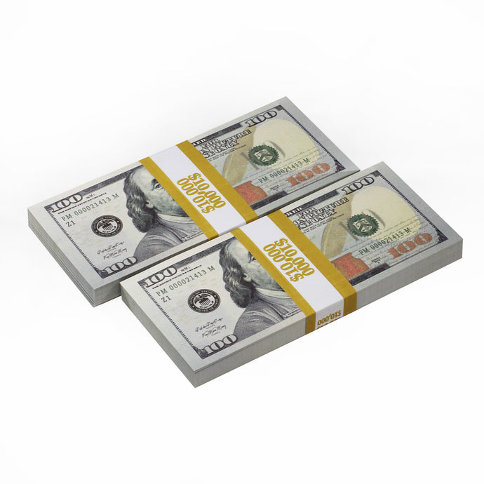 New Style $100s $20,000 Full Print Prop Money Bundle - Prop Money
