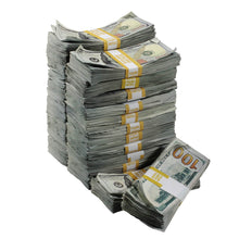 Load image into Gallery viewer, New Series $250,000 Aged Blank Filler Stacks with Money Bag - Prop Movie Money