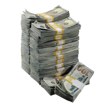 Load image into Gallery viewer, New Series $250,000 Aged Full Print Stacks with Money Bag - Prop Money