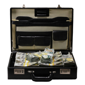 New Style $500,000 Aged Blank Filler Briefcase - Prop Movie Money