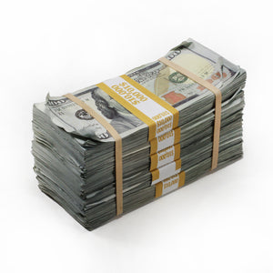 New Series $50,000 Aged Full Print Prop Money Package