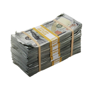 New Series $50,000 Aged Full Print Stacks with Money Bag - Prop Money