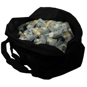 New Style $1,000,000 Aged Blank Filler Duffel Bag - Prop Movie Money