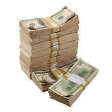Load image into Gallery viewer, 2000 Series $100,000 Aged Full Print Stacks with Money Bag - Prop Money