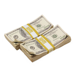 2000 Series $100s $20,000 Aged Full Print Prop Money Bundle - Prop Money