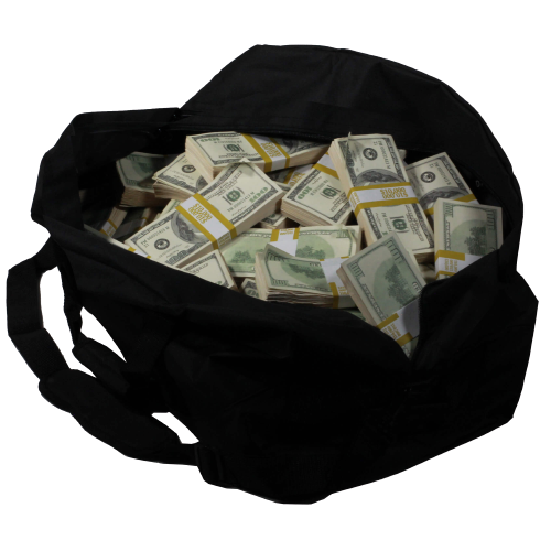 2000 Series $1,000,000 Aged Full Print Duffel Bag - Prop Money