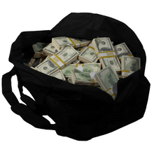 Load image into Gallery viewer, 2000 Series $1,000,000 Aged Blank Filler Duffel Bag - Prop Movie Money