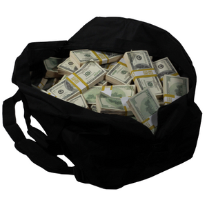 2000 Series $1,000,000 Aged Blank Filler Duffel Bag - Prop Money