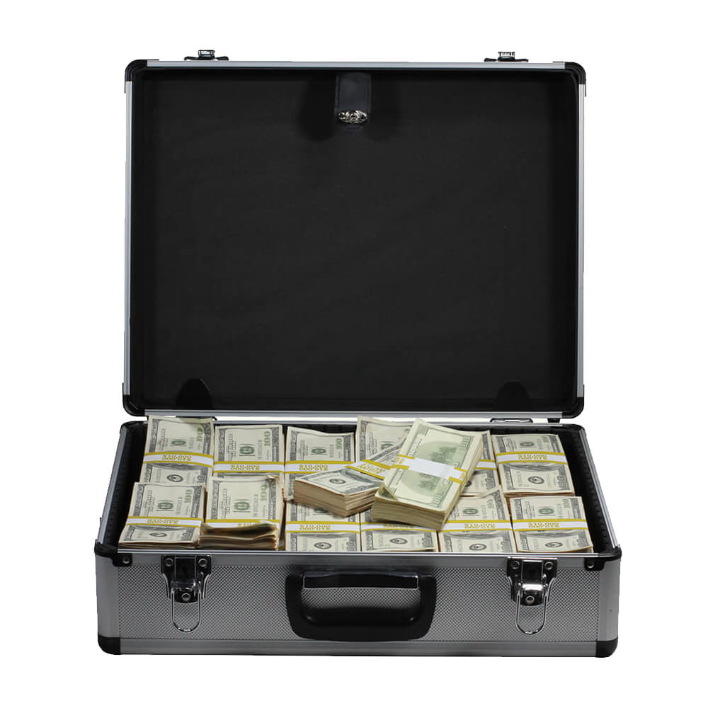 2000 Series $750,000 Aged Full Print Stacks with Silver Aluminum Case - Prop Movie Money