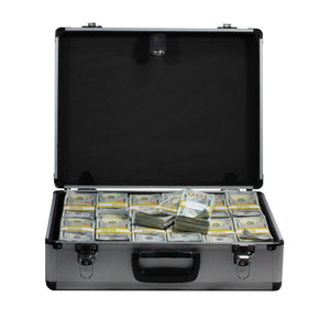 New Series $750,000 Aged Full Print Stacks With Silver Aluminum Case - Prop Money