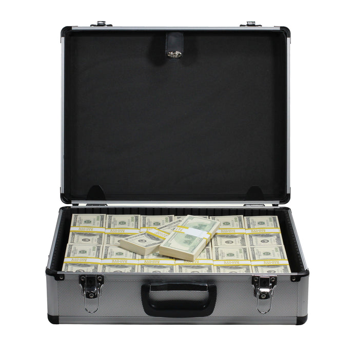 2000 Series $750,000 Full Print Stacks with Silver Aluminum Case - Prop Money
