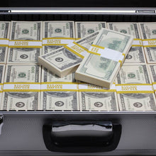 Load image into Gallery viewer, close up of 2000 series full print prop money stack inside silver metal briefcase