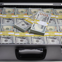 Load image into Gallery viewer, close up of new series 100 full print prop money stack in silver metal briefcase