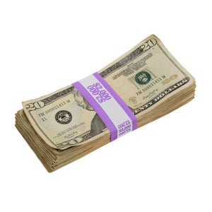 New Style $20s Aged $2,000 Blank Filler Stack - Prop Money