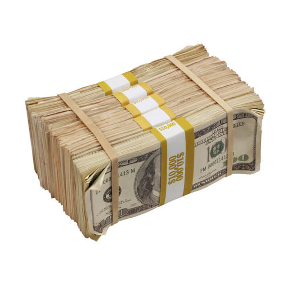 2000 Series $50,000 Aged Full Print Prop Money Bundle