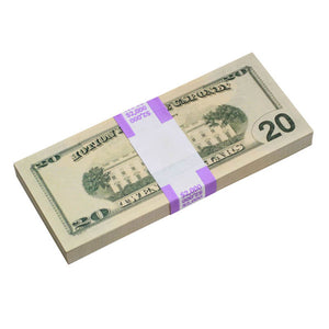New Style $20s Blank Filler $2,000 Prop Money Stack - Prop Movie Money