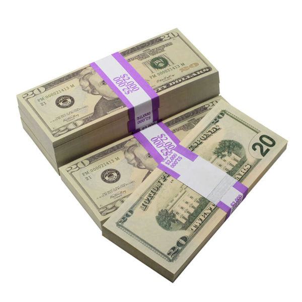 New Style $20s Full Print $10,000 Prop Money Package
