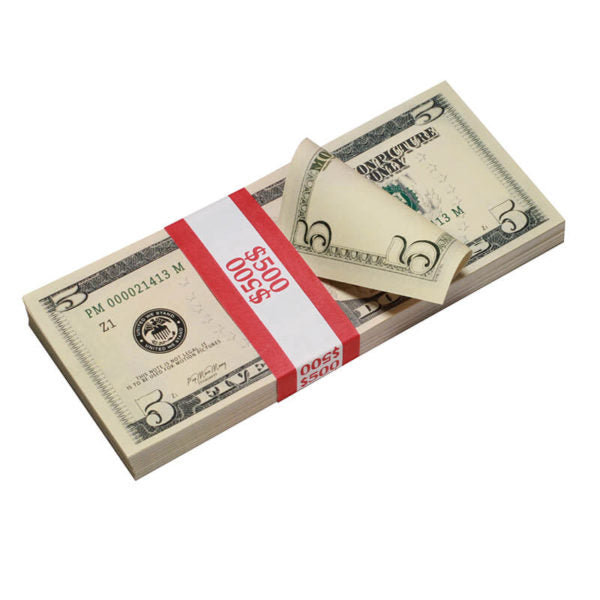 New Style $5 Full Print Prop Money Stack