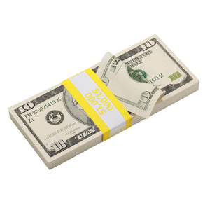 2000 Series $10 Full Print Prop Money Stack - Prop Money