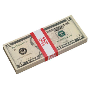 New Style $5 Full Print Prop Money Stack - Prop Money