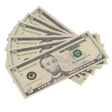 Load image into Gallery viewer, New Style $5 Full Print Prop Money Stack - Prop Money