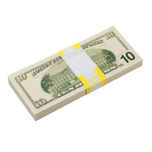 2000 Series $10 Full Print Prop Money Stack - Prop Movie Money