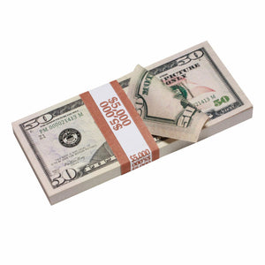 New Style $50 Full Print Prop Money Stack - Prop Money