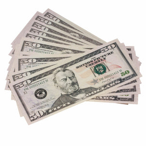 New Style $50 Full Print Prop Money Stack - Prop Movie Money