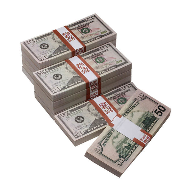 New Style $50,000 Full Print Prop Money Bundle - Prop Money