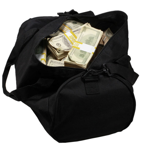 2000 Series $500,000 Aged Full Print Duffel Bag - Prop Money