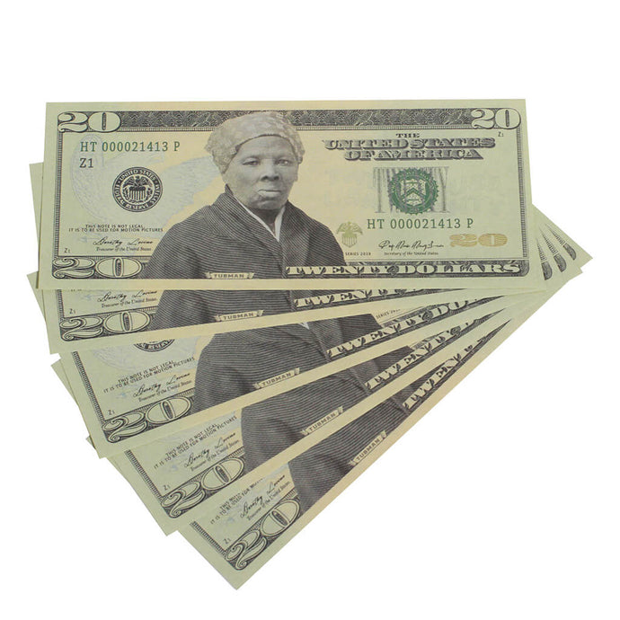 Harriet Tubman $20s x 5 Full Print Commemorative Bills - Prop Money