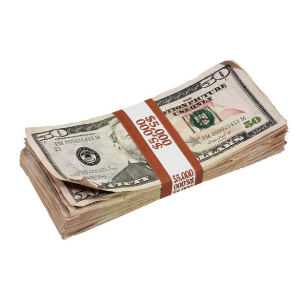 New Style $50s Aged $5,000 Blank Filler Stack - Prop Money