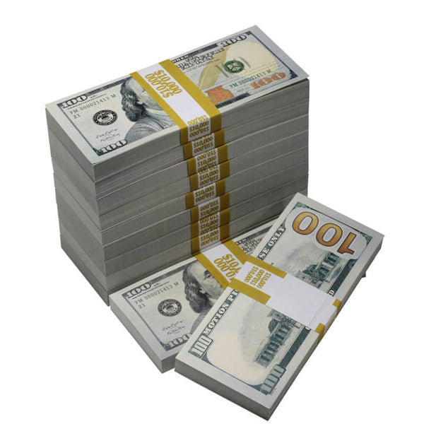 New Style $100,000 Full Print Prop Money Bundle