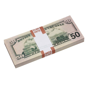 New Style $50s Blank Filler $5,000 Prop Money Stack
