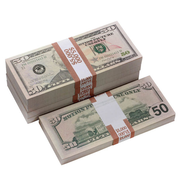 New Style $50s Full Print $25,000 Prop Money Package - Prop Money