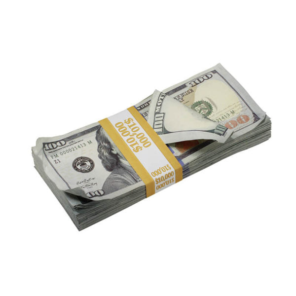 New Series $100s Aged $10,000 Full Print Prop Money Stack - Prop Movie Money