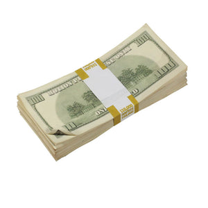 2000 Series $100s Aged $10,000 Full Print Prop Money Stack - Prop Money