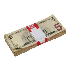 New Style $5s Aged $500 Blank Filler Stack - Prop Money