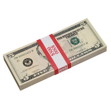 Load image into Gallery viewer, New Style $5s Blank Filler $500 Prop Money Stack - Prop Movie Money