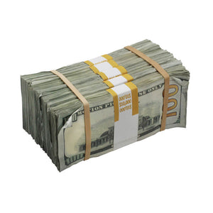 New Series $100s Aged $50,000 Blank Filler Prop Money Package