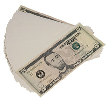 Load image into Gallery viewer, New Style $5s Blank Filler $500 Prop Money Stack