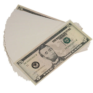 New Style $5s Blank Filler $500 Prop Money Stack