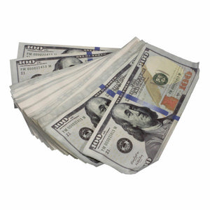 New Style $100s AGED LOOK $10,000 Blank Filler Fat Fold - Prop Money