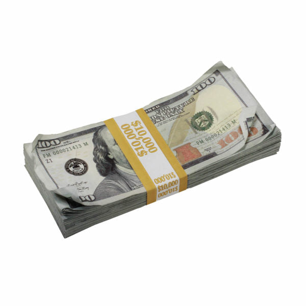 New Style $100s AGED LOOK $10,000 Blank Filler Stack - Prop Movie Money