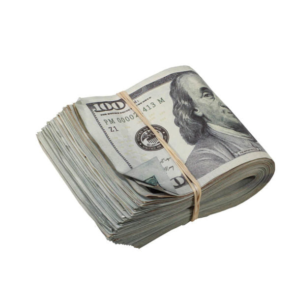 New Style $100s AGED LOOK $10,000 Full Print Fat Fold - Prop Movie Money