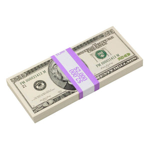 2000 Series $20 Full Print Prop Money Stack - Prop Money